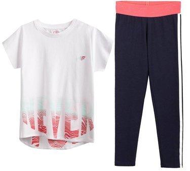 Zestaw sportowy 4F biała koszulka, legginsy