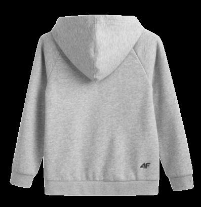 Bluza chłopięca 4F JBLM002A z kapturem szara sportowa