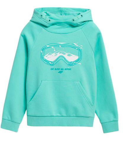 Bluza dziecięca 4F JBLD006 z kapturem miętowa