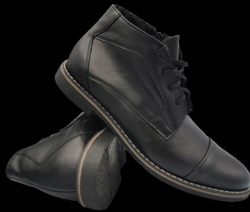 Buty zimowe męskie 245 wysokie skórzane czarne