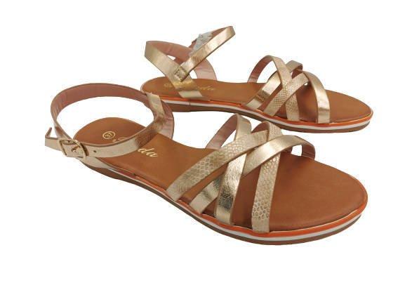 Sandały damskie eleganckie złote 99-62