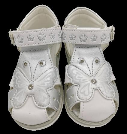 Sandały dziewczęce na rzepy srebrne CL-MOT