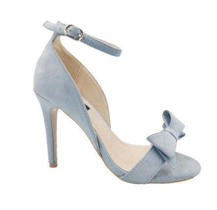 Sandały na obcasie błękitne eleganckie 6101-12