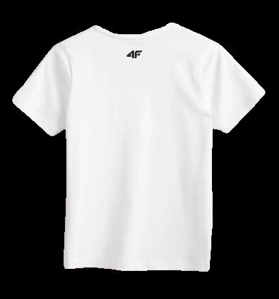 T-shirt chłopięcy 4F biały JTSM002 bawełniany