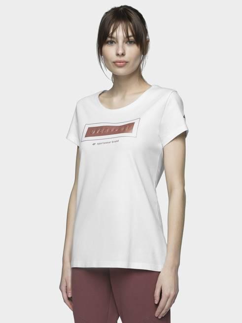 T-shirt damski 4F TSD034 bawełniany biały