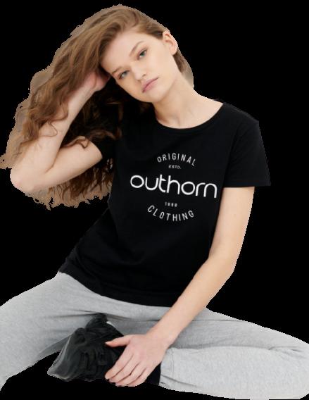 T-shirt damski OUTHORN TSD606A bawełniany czarny