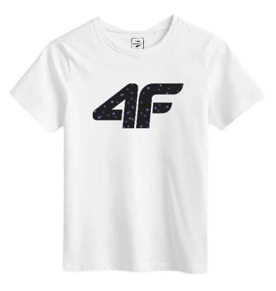 T-shirt dziecięcy 4F bawełniany JTSM010B biały