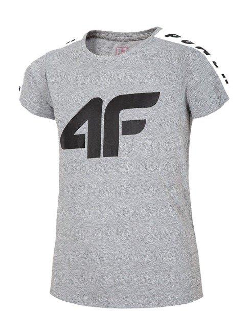T-shirt dziewczęcy 4F JTSD004A SZARY MELANŻ