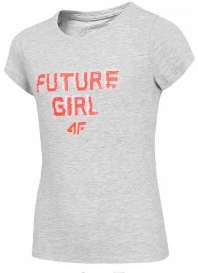 T-shirt dziewczęcy 4F JTSD007 bawełniany szary