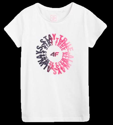 T-shirt dziewczęcy 4F JTSD014 biały bawełniany