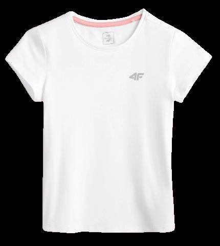 T-shirt dziewczęcy 4F biały JTSD001A bawełniany