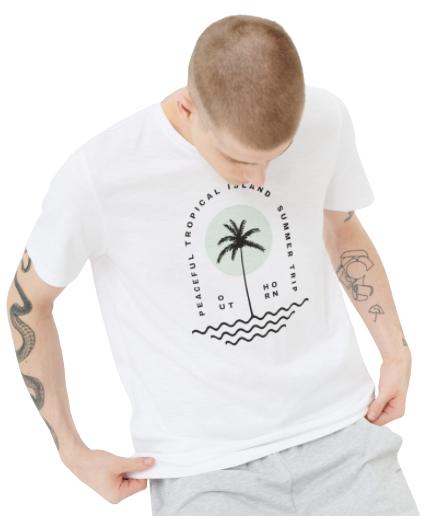 T-shirt męski OUTHORN TSM641 biały bawełna