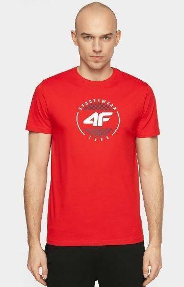 T-shirt męski bawełniany 4F TSM022 czerwony